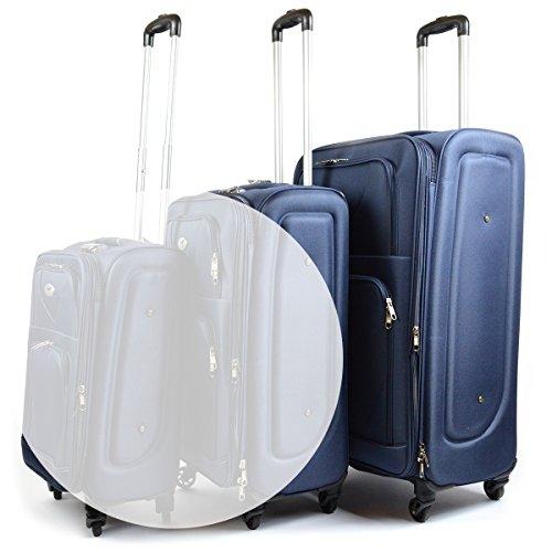Stoff Reisekoffer / Koffer Größe L mit Frontfach ' Airbox Sommer 2017 blau'