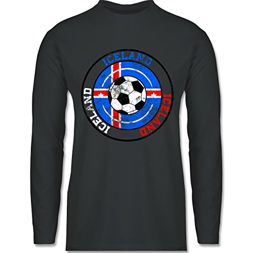 Shirtracer Fußball-WM 2018 - Russland - Iceland Kreis & Fußball Vintage - Herren Langarmshirt Dunkelgrau