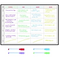 Meal Planner and Action Plan Whiteboard by SmartPanda - Large Magnetic Calendar Ideal For Study Planning, Exams, Chores or Dieting - Fridge White Board Task Plan - Weekly