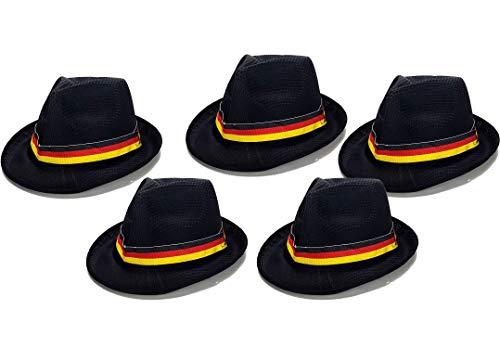 Deutschland WM Fan Hut Fedora Panama WM 2018 - schwarz rot gold Aktion - 5 Stück