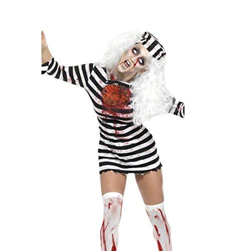 Mutterschaft Zombie Kostüm Baby - PRTQI Halloween Kostüm Adult Horror Blutige Cosplay Schwarz Und Weiß Striped Zombie Kostüm,XL