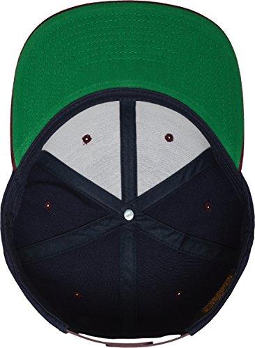 Yupoong Flexfit Unisex Kappe Classic Snapback 2-Tone, zweifarbige blanko Cap mit geradem Schirm, One Size Einheitsgröße für Männer und Frauen, Farbe nvy/maroon - 6