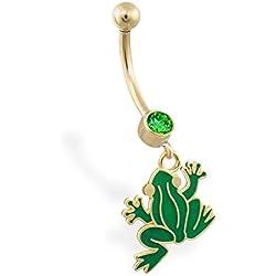 14 K oro anillo del vientre con peluche de rana verde