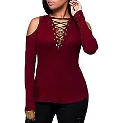 MORCHAN Femmes Sexy Solide sans Bretelles Col V Manches Longues T-Shirt Tops Blouse(FR-44/CN-2XL,Rouge)