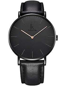 Alienwork Quarz Armbanduhr elegant Quarzuhr Uhr modisch Zeitloses Design klassisch Leder schwarz 98469L-10
