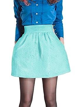 La Mujer Floral Jacquard De Alta Cintura Una Linea De Mini Falda Con Bolsillos