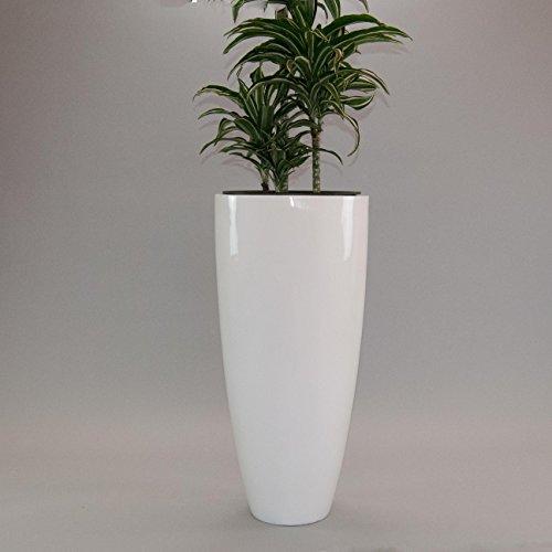 Pflanzkübel Blumenkübel Blumentopf Fiberglas rund konisch D30xH60cm hochglanz weiß.