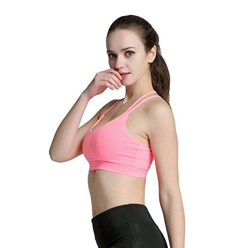 Yalatan Women Oblique Shoulder Strap Tops Fitness Hollow-out Padded Bras Sports Yoga bra Pink