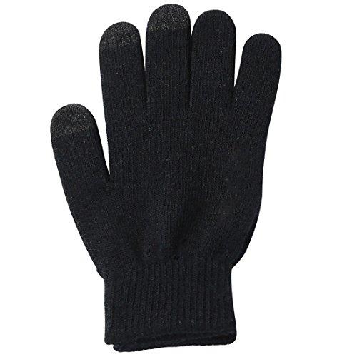 Grip Handschuhe Touch Screen (Handschuhe Touchscreen warme Winterhandschuhe Anti-Rutsch Gloves mit Noppen für Grip und Touch Sense Pad für Smartphone / Handy / Tablet Unisex Damen und Herren Größe M-L in Schwarz von wortek)