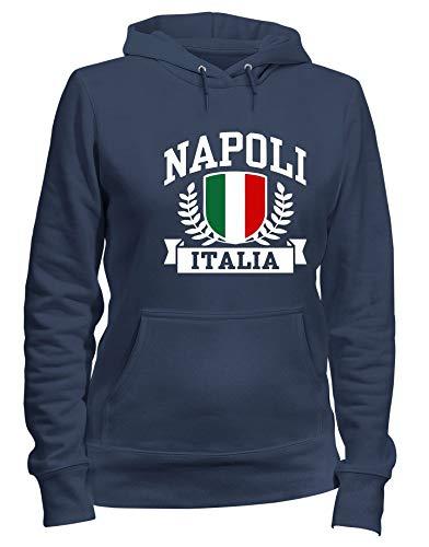 T-Shirtshock Kapuzen-Sweatshirt Frauen Blau Navy TSTEM0274 Napoli Italia
