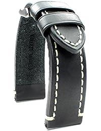 Bracelet de Montre en Cuir 22mm Bande Catalonia aviateur Montres Rétro Strap Black Noir Couture Blanche