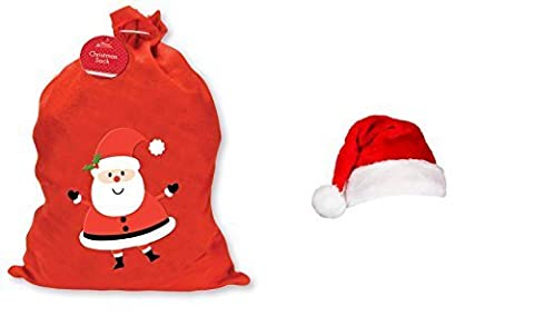 Weihnachten Santa Zubehör Bundle: PREMIER Dekorationen Plüsch Red Santa Hat & GIANT Weihnachten Santa Sack Filz Stoff Weihnachtsstrumpf (Giants Geist)