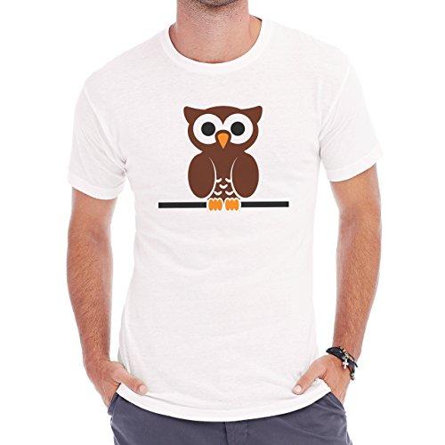Owl Bird Night Midnighter Big Small Brown Eye Herren T-Shirt Weiß