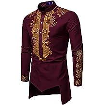 Herren Langarmshirt Slim Fit   Sannysis Männer Longsleeve Herbst Winter  Luxus Afrikanischen Druck Langarm Dashiki Shirt 612ffae01f