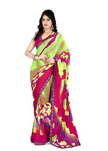 Sharda Sarees Georgette Saree (Multi-Colour) with Blouse Piece