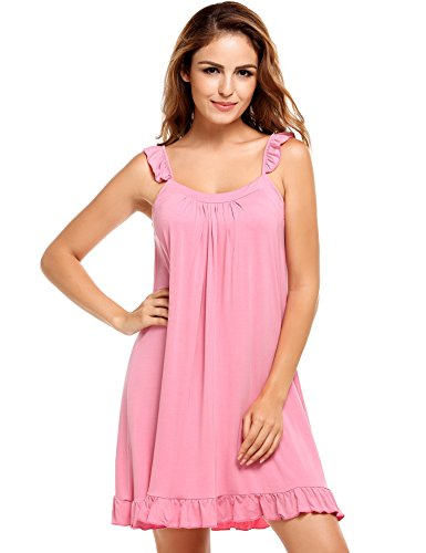Pyjama Sleepshirt (EKOUAER Damen Lässiges Pyjama Sleepshirt Schlafanzug Nachtwäsche Nachthemd mit Rundhalsausschnitt)