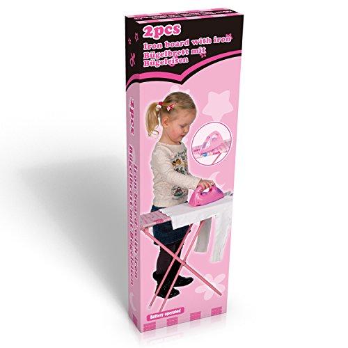 Preisvergleich Produktbild Bügelbrett Kinder Spieltisch Kinderbügelbrett Bügeltisch Tisch pink + Bügeleisen 62 x 18 x 52 cm