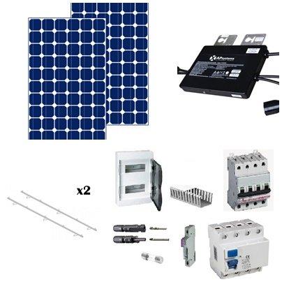 Kit solar de 1000w con : 4 paneles solares de 260w de fabricacion española, estructuras de aluminium para tejado plano o inclinado, 2 micro-inversores de marca APS, kit electrico por instalación de menos de 5kw Este kit produce mas o menos 6000w al d...