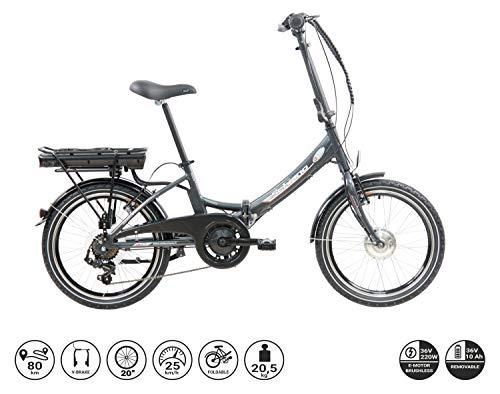 F.lli Schiano E- Star, Bicicletta elettrica Pieghevole Unisex Adulto, Antracite, 20\'\'