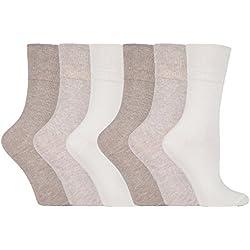 Gentle Grip - 6 paires Femme sans élastique diabétiques chaussettes pas de caoutchouc non comprimantes 37-42 eur (GG001)