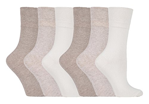 6 Pairs Plain Ladies Gentle Grip Honeycomb Top Socks 6 Colours (GG001)