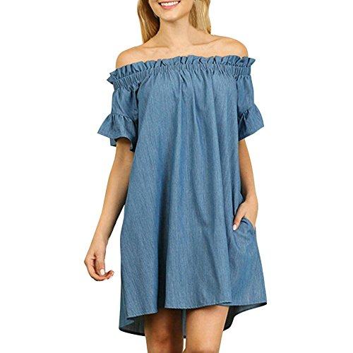Bekleidung Loveso Kleid Sommerkleider Damen Mode Einfarbig Schulterfrei Trägerlos Kurze Kleid One-Shoulder Denim Minikleid Top Abendkleider Partykleid ((Größe):48 (5XL), Blau B) (Check Kleid Große)
