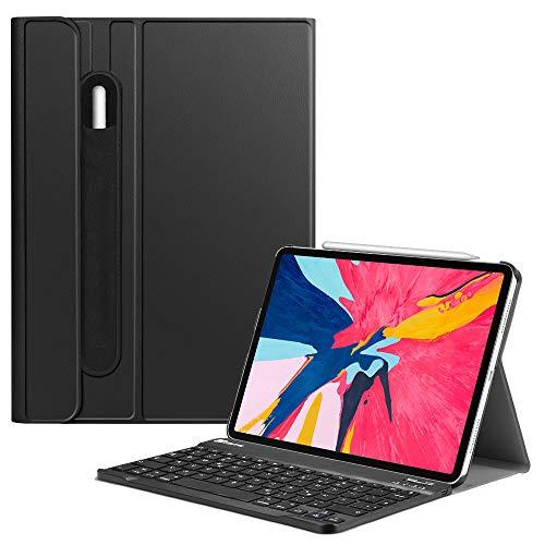 Fintie Bluetooth Tastatur Hülle für iPad Pro 11 2018 (Lademodus des Apple Pencils 2nd Gen Wird unterstützt) - Ultradünn leicht Keyboard Case mit magnetisch Abnehmbarer drahtloser Tastatur, Schwarz