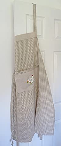 Apron Gingham Hen Cockerel Design French Country Shabby Chic Cotton Embroidered Cook Chefs Apron