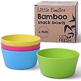 GO FRESH Bambus Kinder Snackschalen, Set mit 4 Teilen umweltfreundliche Kinder Bambusschalen, Bambus Kindergeschirr für den täglichen Gebrauch, BPA frei, spülmaschinenfest und stapelbar