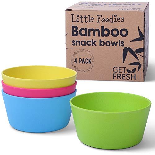 Juego de 4 cuencos de bambú para aperitivos para niños, de Get FRESH, para uso diario, ecológicos para niños, sin BPA, aptos para lavavajillas y apilables