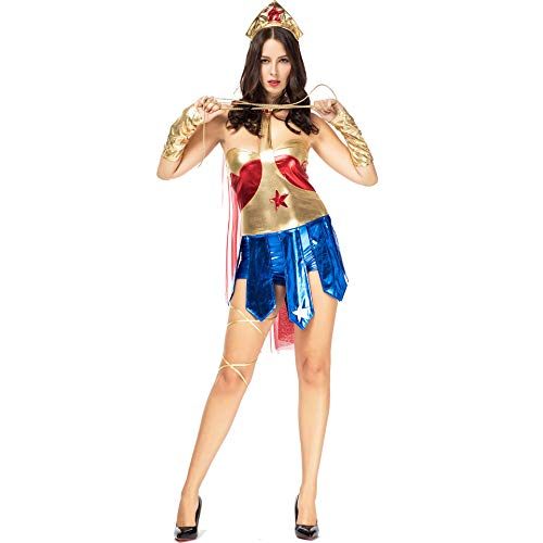 Geist Kostüm Halloween Gladiator - Halloween Wonder Woman Kostüm Cosplay Superman Gladiator Uniform Erwachsene Damen Sexy Mantel Europäischen Und Amerikanischen New Game Kleider,Gold,M