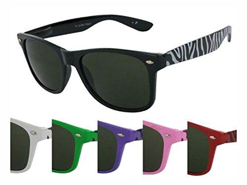CHICNET Hochwertige Sonnenbrille Zebra Unisex Nerd Brille dunkel getönt 400 UV vintage Farben lila