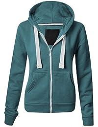 ca52b387d34 Parsa Fashions ® Ladies Plain Hoodie Womens Long Sleeves Zip Hoodie Zipper  TOP Hooded Jacket with