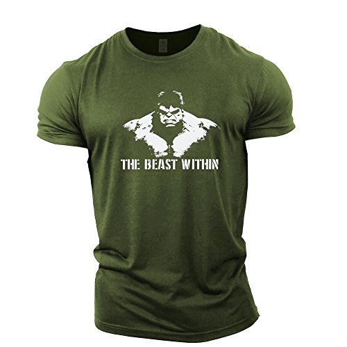 7c2c65865bc2d GYMTIER Mens Bodybuilding T-Shirt - Beast Within - Gym Training Top Green