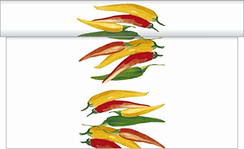 Sovie HOME Tischläufer Chili | Linclass® Airlaid 40cm x 4,80m | saugstark hochwertig | Grillfest Garten Party Feier