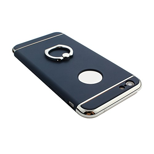 Leicht Ring Halter Halterung Hart Hülle für iPhone 6 Plus / iPhone 6S Plus, Skitic Plastik Ultra dünne 3in1 Metall beschaffenheit PC Schutzhülle Case Cover Luxus Electroplate Spiegel-Reflexion Zurück  Blau