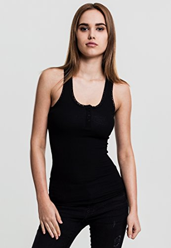 Urban Classics Ladies Button Lace Tank Top, black, L (Black Classic Button)