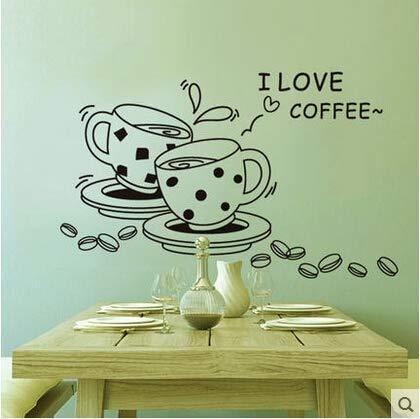 Ich Liebe Kaffee Küche Wandtattoo Vinyl Kunst Abziehbild Abnehmbare Decorwall Aufkleber 3D Wandaufkleber Schlafzimmer Wandaufkleber Wandaufkleber 38 * 62Cm