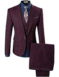 Slim Fit Schnitt Herren ein knopf 3-Teilig Anzug Kariert Design mit Weste  +Fliege… 4a07fe5520