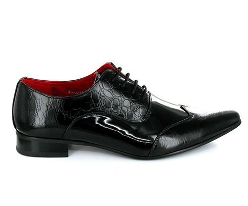 Shuperb FELINI ZX Mens Patent Faux Leather Scaly Shoes Black UK 8