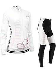 Maillot de Cyclisme Femme Manches Longues jersey(S~5XL,option:Cuissard,3D Coussin) N255