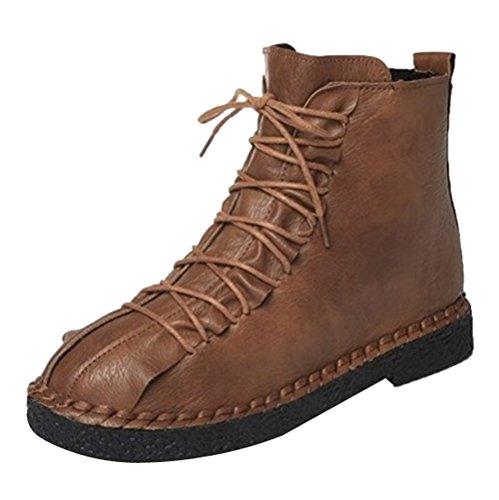 Ankle Boots Damen,Elecenty Frauen Winter Flache Stiefel Vintage Stiefeletten Halbschaft Schnürstiefel Winterboots Schnürboots Sportschuhe Schnürstiefeletten