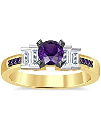 Silvernshine 1.35Ct Round & Buget Cut Amethyst Sim Dimoands 14K Yellow Gold Plated Engagement Ring