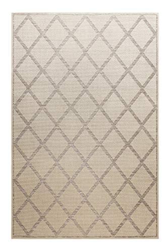 Homie Living I Moderner Flachgewebe Kurzflor Teppich - Läufer für Küche, Esszimmer, Flur I Bergamo I (80 x 150 cm, Beige Grau)