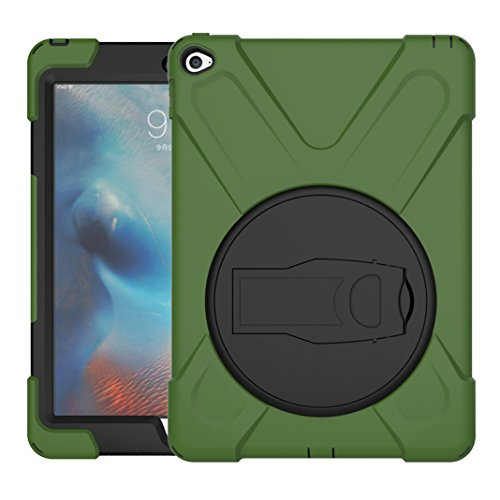 Asnlove iPad Air 2 Hülle, 360 Grad Drehbare Robustes Kunststoff Hard Case mit Displayschutz - Ausklappbarer Standfuss für Apple iPad 6 - Armee grün Robustes Hard Case