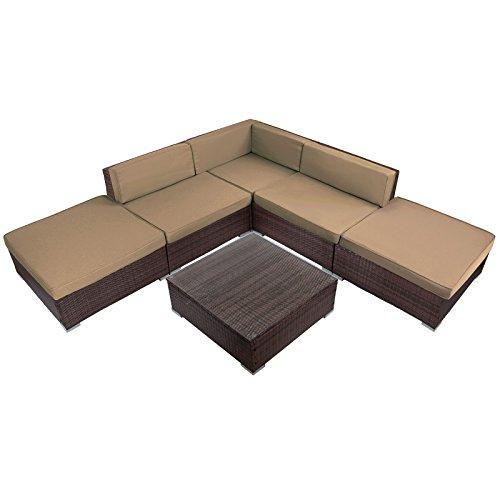 15-teilige Polyrattan Lounge Gartengarnitur CASMONA mit Kaffee-Tisch Sitzpolster mit abnehmbaren Bezügen in vielen Farben und Sicherheits-Glasplatte, Farbe:Schwarz-Braun meliert / Zuckerbraun