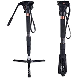Kit Monopied Caméra, Cayer CT35 Jambe Monopode Vidéo en Fibre de Carbone de 68 Pouces et Tête Fluide H4 avec Base de Trépied Amovible pour Caméscopes DSLR et Caméra Vidéo