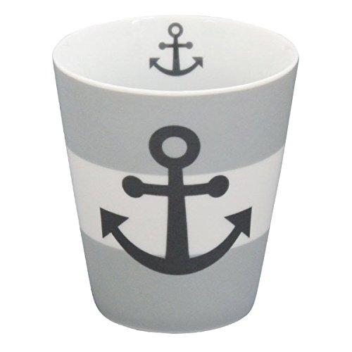 Krasilnikoff - Kaffeebecher/Kaffeetasse - Mug - Grau/Weiss - Anker - 8,7cm H: 10cm - Porzellan