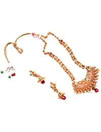 Caitali Traditional Red And Green Stone Studded Kundan Copper Antique Long Wedding Wear Necklace Jhumkis Earrings...