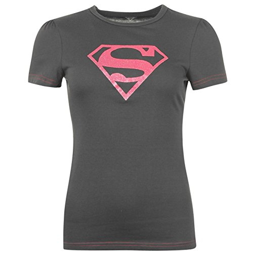 DC Comics Supergirl t-shirt da donna antracite carattere tee top t-shirt, UK 14 (Large)
